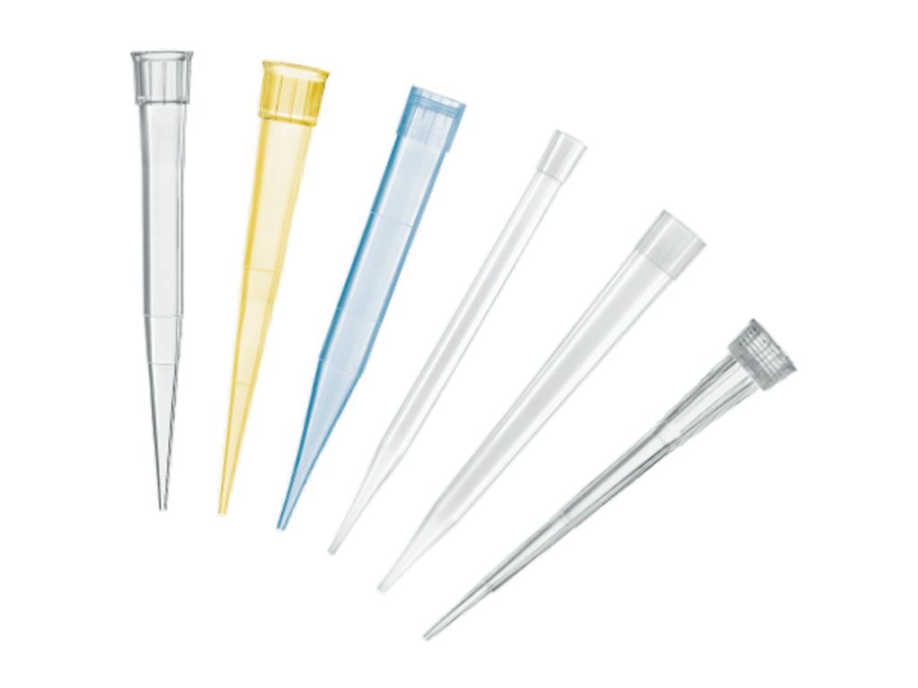 An image of micropipette tips explaining the colors, they are white, blue and yellow